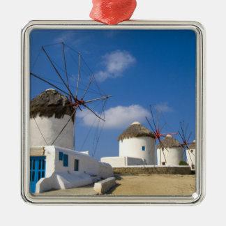 Beautiful windmills on the island of Mykonos, Metal Ornament