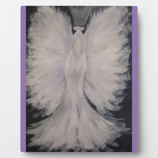 Beautiful Winged Guardian Angel Painting Art Plaque