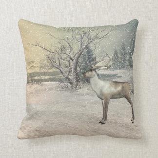 Beautiful winter deer pillow