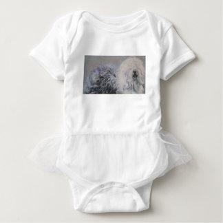 Beautiful winter Old English SheepDog Painting Baby Bodysuit