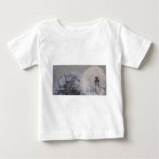 Beautiful winter Old English SheepDog Painting Baby T-Shirt