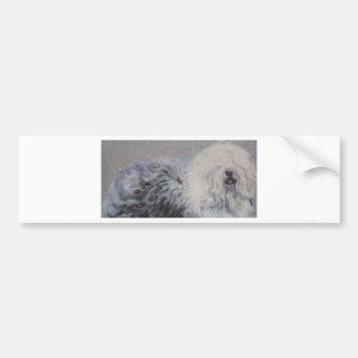 Beautiful winter Old English SheepDog Painting Bumper Sticker