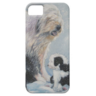 Beautiful winter Old English SheepDog Painting Case For The iPhone 5