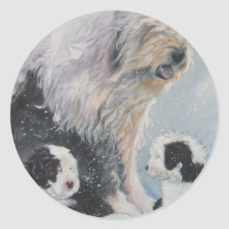 Beautiful winter Old English SheepDog Painting Classic Round Sticker