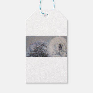 Beautiful winter Old English SheepDog Painting Gift Tags