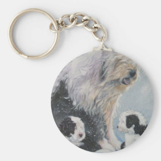 Beautiful winter Old English SheepDog Painting Keychain