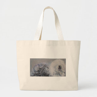 Beautiful winter Old English SheepDog Painting Large Tote Bag