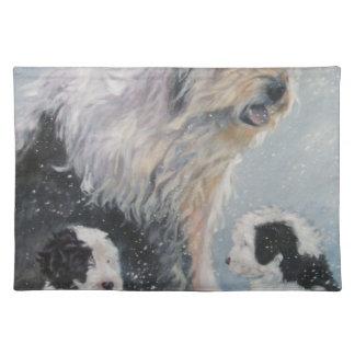 Beautiful winter Old English SheepDog Painting Placemat