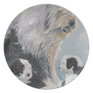 Beautiful winter Old English SheepDog Painting Plate