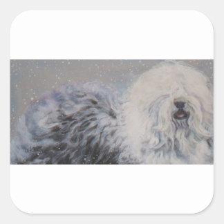 Beautiful winter Old English SheepDog Painting Square Sticker
