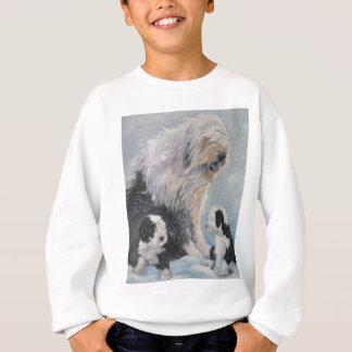 Beautiful winter Old English SheepDog Painting Sweatshirt