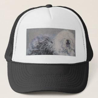 Beautiful winter Old English SheepDog Painting Trucker Hat