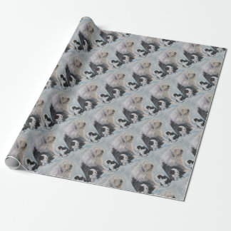 Beautiful winter Old English SheepDog Painting Wrapping Paper