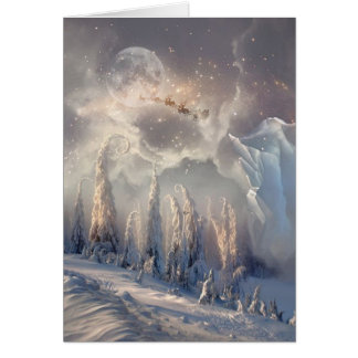 Beautiful Winter Santa Flying Christmas Scene Card