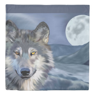 Beautiful Winter Scene Wolf Duvet Cover