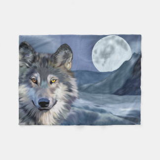 Beautiful Winter Scene Wolf Fleece Blanket