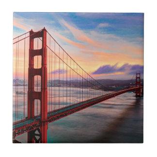 Beautiful winter sunset at Golden Gate Bridge Tiles