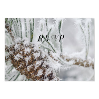 Beautiful Winter Wedding, Snowflakes and Pinecone Card