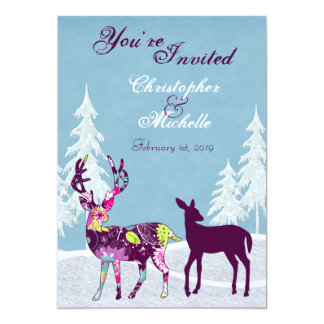 Beautiful Winter Woodland Deer Wedding Invitation