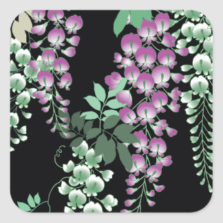 Beautiful Wisteria Vintage Japanese Floral Square Sticker