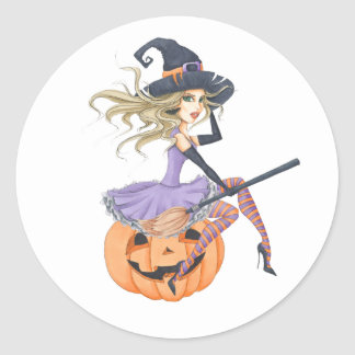 Beautiful Witch on The Pumpkin Classic Round Sticker