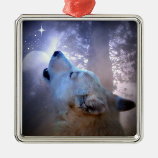 Beautiful Wolf and Moon Christmas Ornament