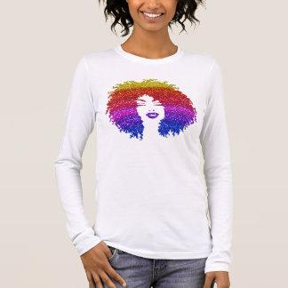 Beautiful Woman   Afro Natural Hairstyle   Rainbow Long Sleeve T-Shirt