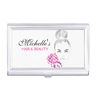 Beautiful woman fashion illustration branding business card holder