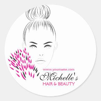 Beautiful woman fashion illustration branding classic round sticker