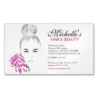 Beautiful woman fashion illustration branding Magnetic business card