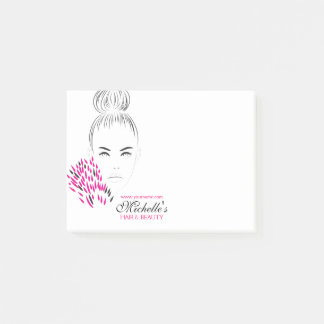 Beautiful woman fashion illustration branding post-it® notes