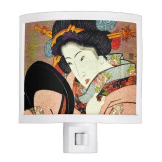 Beautiful Woman in Mirror by Utagawa Kunimaru Night Lights