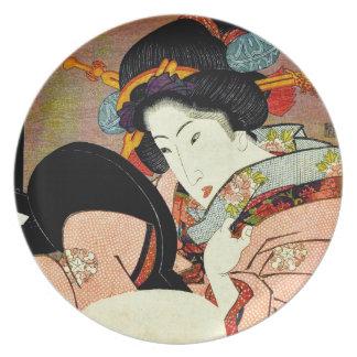 Beautiful Woman in Mirror by Utagawa Kunimaru Plate