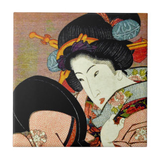 Beautiful Woman in Mirror by Utagawa Kunimaru Tile