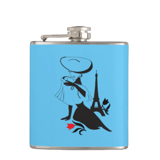Beautiful woman vintage silhouette with a big hat flask