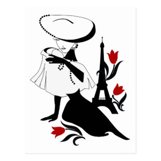 Beautiful woman vintage silhouette with a big hat postcard