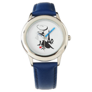 Beautiful woman vintage silhouette with a big hat watch