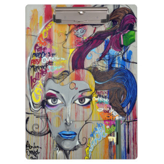 Beautiful woman with blue lips graffiti clipboard
