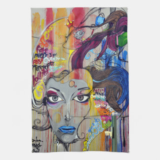 Beautiful woman with blue lips graffiti kitchen towel