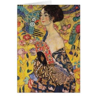 Beautiful Woman with Fan by Klimt Card