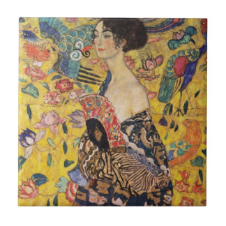 Beautiful Woman with Fan by Klimt Ceramic Tile