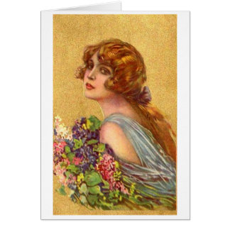 Beautiful Woman with Flowers, Card