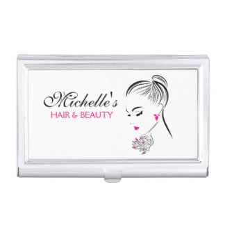 Beautiful woman with pink earrings branding business card holder