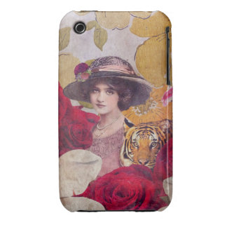Beautiful Woman With Tiger Flowers iPhone 3 Cases