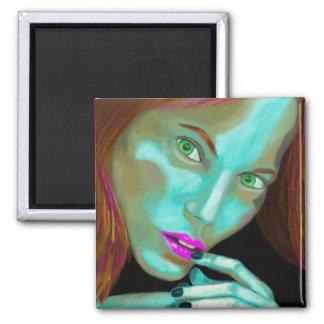 Beautiful Woman's Portrait in Fluorescent Colors Square Magnet