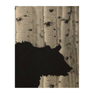 Beautiful Wood Wall Art - Bear Silhouette in Trees