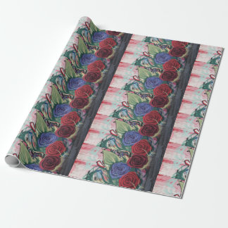 Beautiful Wrapping Paper with Red and Blue Roses