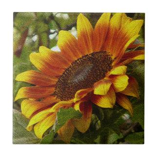 Beautiful Yellow and Orange Sunflower Ceramic Tile