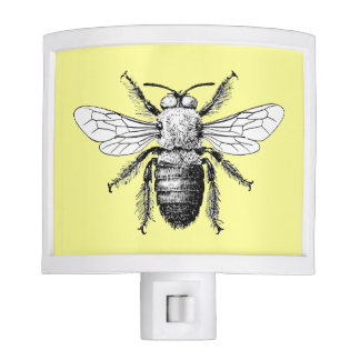 Beautiful Yellow Antique Bumble Bee, Insect Nite Lite