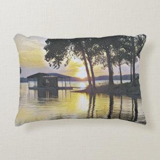 Beautiful Yellow Black Sunset Water Reflections Decorative Pillow